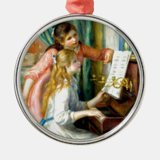 Two Girls at the Piano - Pierre Auguste Renoir Silver-Colored Round Ornament