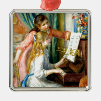 Two Girls at the Piano - Pierre Auguste Renoir Silver-Colored Square Ornament