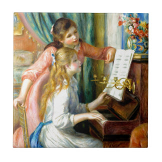 Two Girls at the Piano - Pierre Auguste Renoir Tile