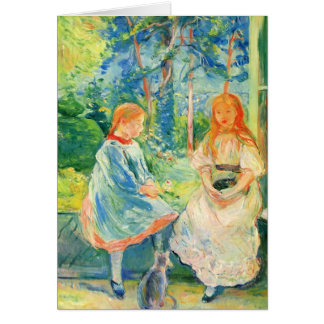 Two girls by the window by Berthe Morisot Card