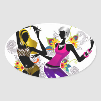 Two Girls Dancing on Floral Background Vector Illu Oval Stickers