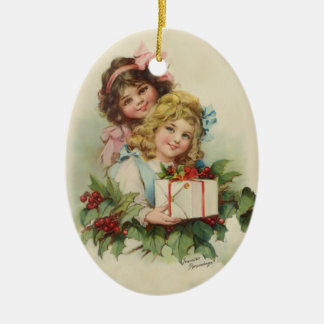 Two Girls Holly Gift - Francis Brundage Ceramic Ornament