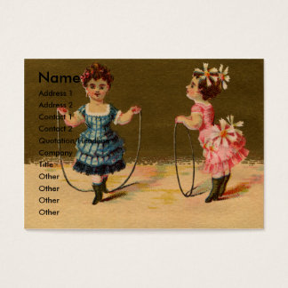 Two Girls Play with Rope and Hoop Business Card