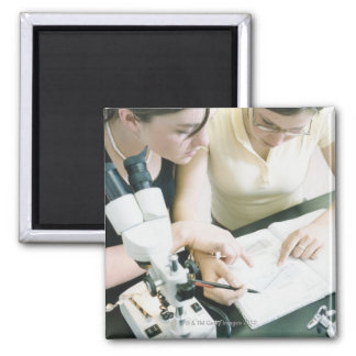 Two Girls with Microscope Square Magnet