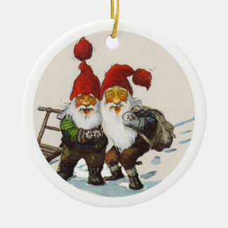 Two Gnome Friends Round Ceramic Ornament