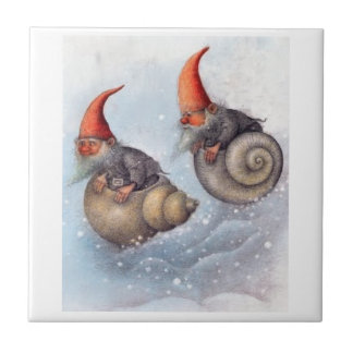 TWO GNOMES SNOWBOARDING ON SNAIL SHELLS TILE