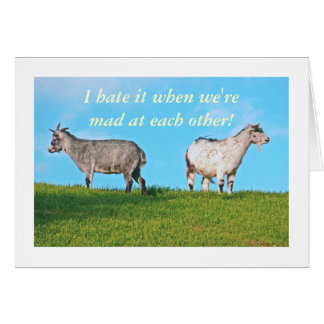 "TWO GOATS, BACKS TO EACH OTHER. ""I HATE IT WHEN WE CARD"