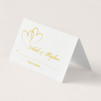 Two Gold Hearts Intertwined Place Card