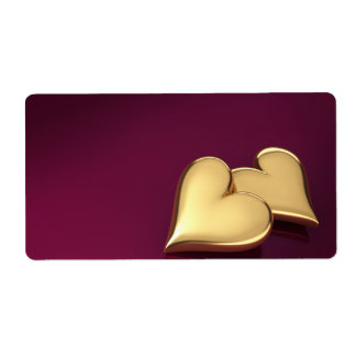 Two Gold Hearts On a Violet Background Custom Shipping Label