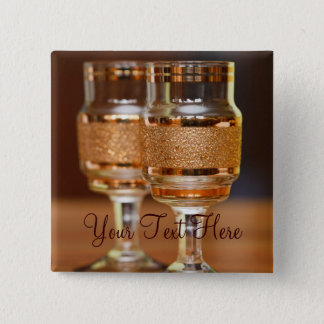 Two Golden Glasses 2 Inch Square Button