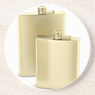 Two golden hip flasks coaster