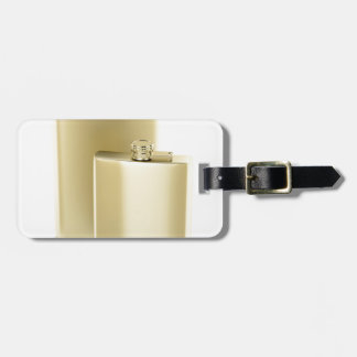 Two golden hip flasks luggage tag