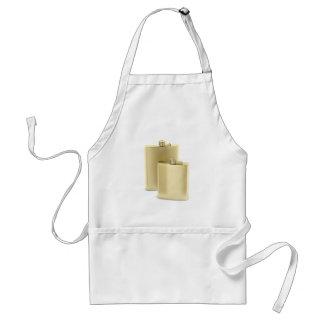Two golden hip flasks standard apron