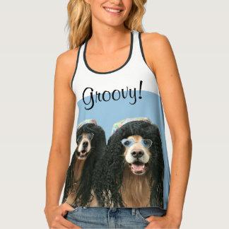 Two Golden Retriever Hippie Dogs Groovy Tank Top