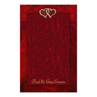 Two Golden Wedding Rings Personalized Stationery