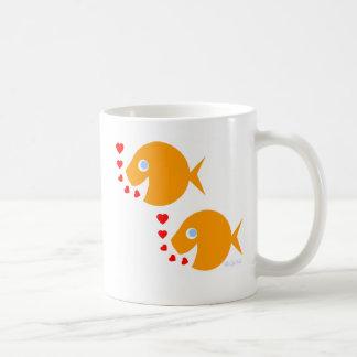 Two Goldfish in Love Cartoon with Hearts Newlyweds Coffee Mug
