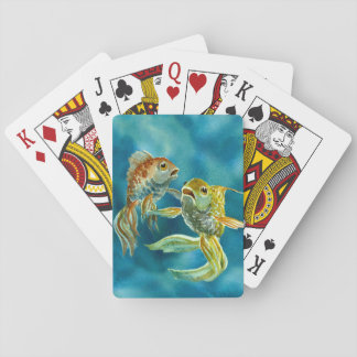 Two Goldfish Playing Cards