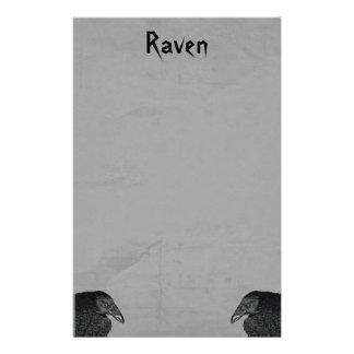 Two Gothic Type Black Raven Illustrations on Gray Stationery