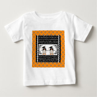 Two Graduating Penguins, ABC Scalloped Background Baby T-Shirt