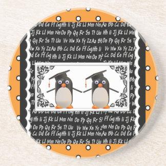 Two Graduating Penguins, ABC Scalloped Background Coaster
