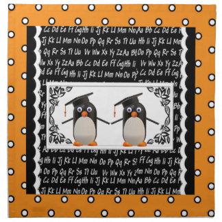 Two Graduating Penguins, ABC Scalloped Background Napkin
