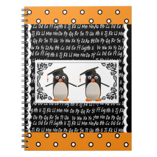 Two Graduating Penguins, ABC Scalloped Background Notebook