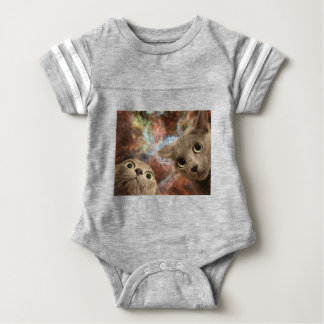 Two Gray Cats in Space Before a Nebula Baby Bodysuit