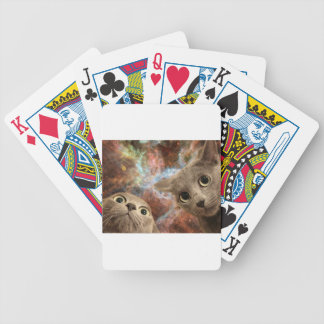 Two Gray Cats in Space Before a Nebula Bicycle Playing Cards