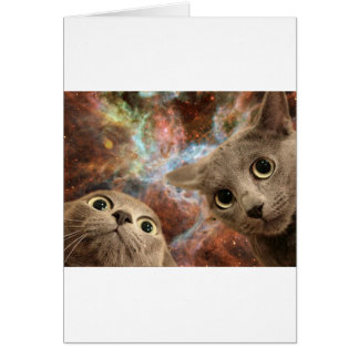 Two Gray Cats in Space Before a Nebula Card