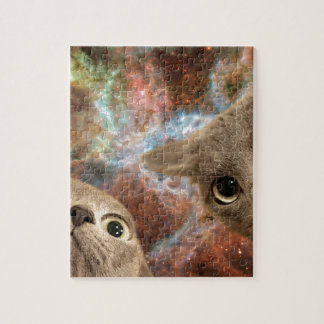 Two Gray Cats in Space Before a Nebula Jigsaw Puzzle