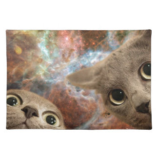 Two Gray Cats in Space Before a Nebula Placemat