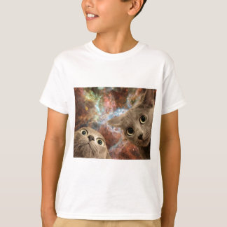 Two Gray Cats in Space Before a Nebula T-Shirt