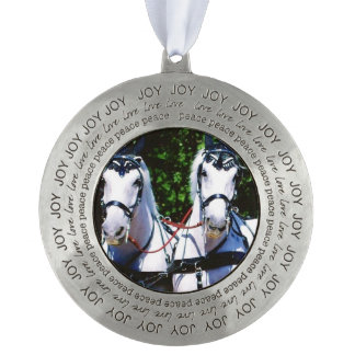 Two Gray Percherons Round Pewter Ornament
