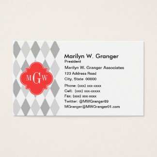 Two Gray Wht Harlequin Coral 3 Initial Monogram Business Card