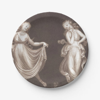 Two Grecian Women Dancing 7 Inch Paper Plate