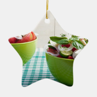 Two green bowl with vegetable vegetarian salad ceramic star ornament