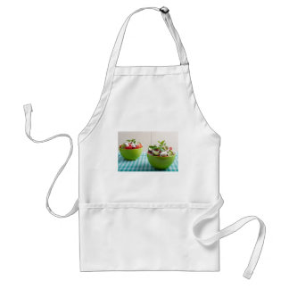 Two green bowl with vegetable vegetarian salad standard apron