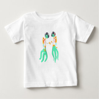 Two Green Extraterrestrial Beings In Space Suits Baby T-Shirt