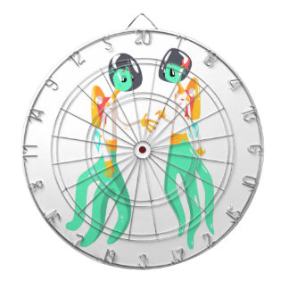 Two Green Extraterrestrial Beings In Space Suits Dartboard
