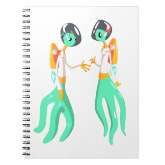 Two Green Extraterrestrial Beings In Space Suits Notebook