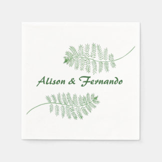 Two Green Ferns Personalized Wedding Napkins Paper Napkins