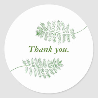 Two Green Ferns Thank you Stickers