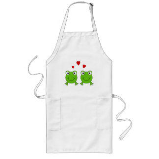 Two green frogs with red hearts. aprons