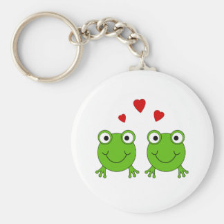 Two green frogs with red hearts. basic round button keychain