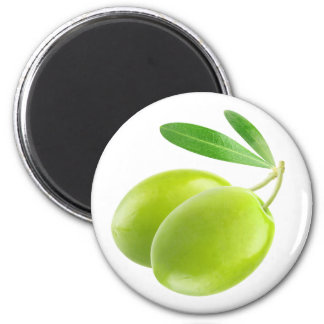 Two green olives 2 inch round magnet