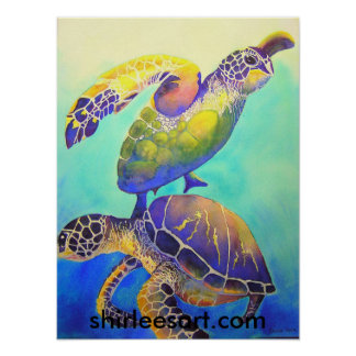 Two Green Sea Turtles Poster