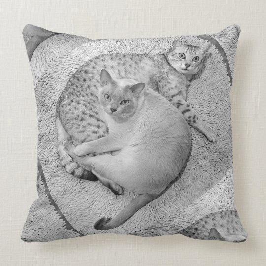 Two grey cats throw pillow