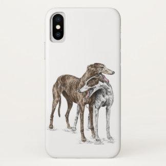 Two Greyhound Friends Dog Art iPhone X Case