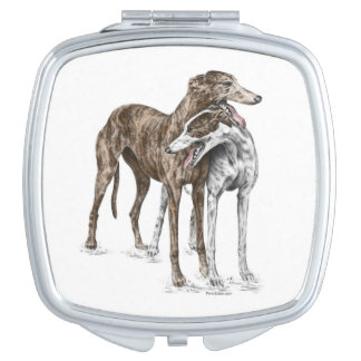 Two Greyhound Friends Dog Art Mirror For Makeup