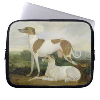 Two Greyhounds in a Landscape (oil on canvas) Laptop Sleeve